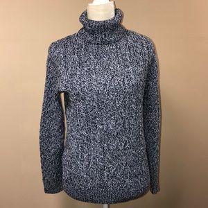 Blue & White Turtleneck 100% Cotton Sweater large